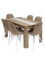 PACK SALLE A MANGER TABLE FLORA + 6 CHAISES RIVERA BEIGE