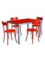 PACK SALLE A MANGER TABLE SERENA TOP EN VERRE + 4 CHAISES SPOT