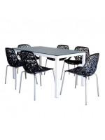 PACK SALLE A MANGER TABLE SERENA TOP EN VERRE + 6 CHAISES CONFORT