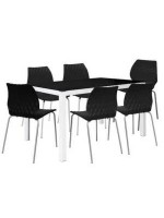PACK SALLE A MANGER TABLE SERENA TOP EN VERRE + 6 CHAISES PRINCE